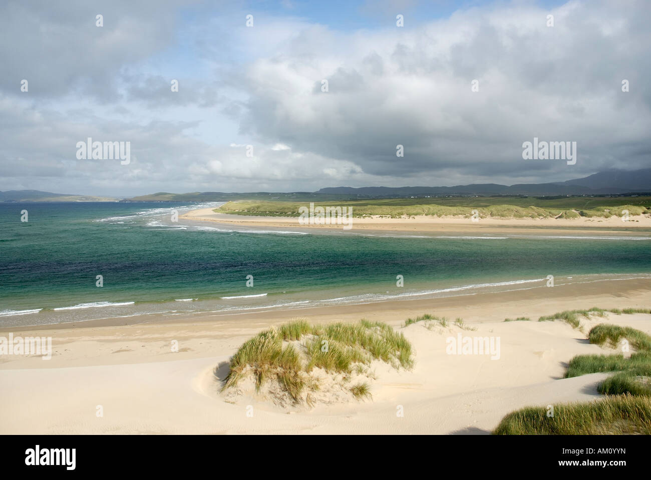 Coastal scenery with sandy beaches and moving clouds at the Atlanic shore of of Co Donegal, Ireland - Stock Image
