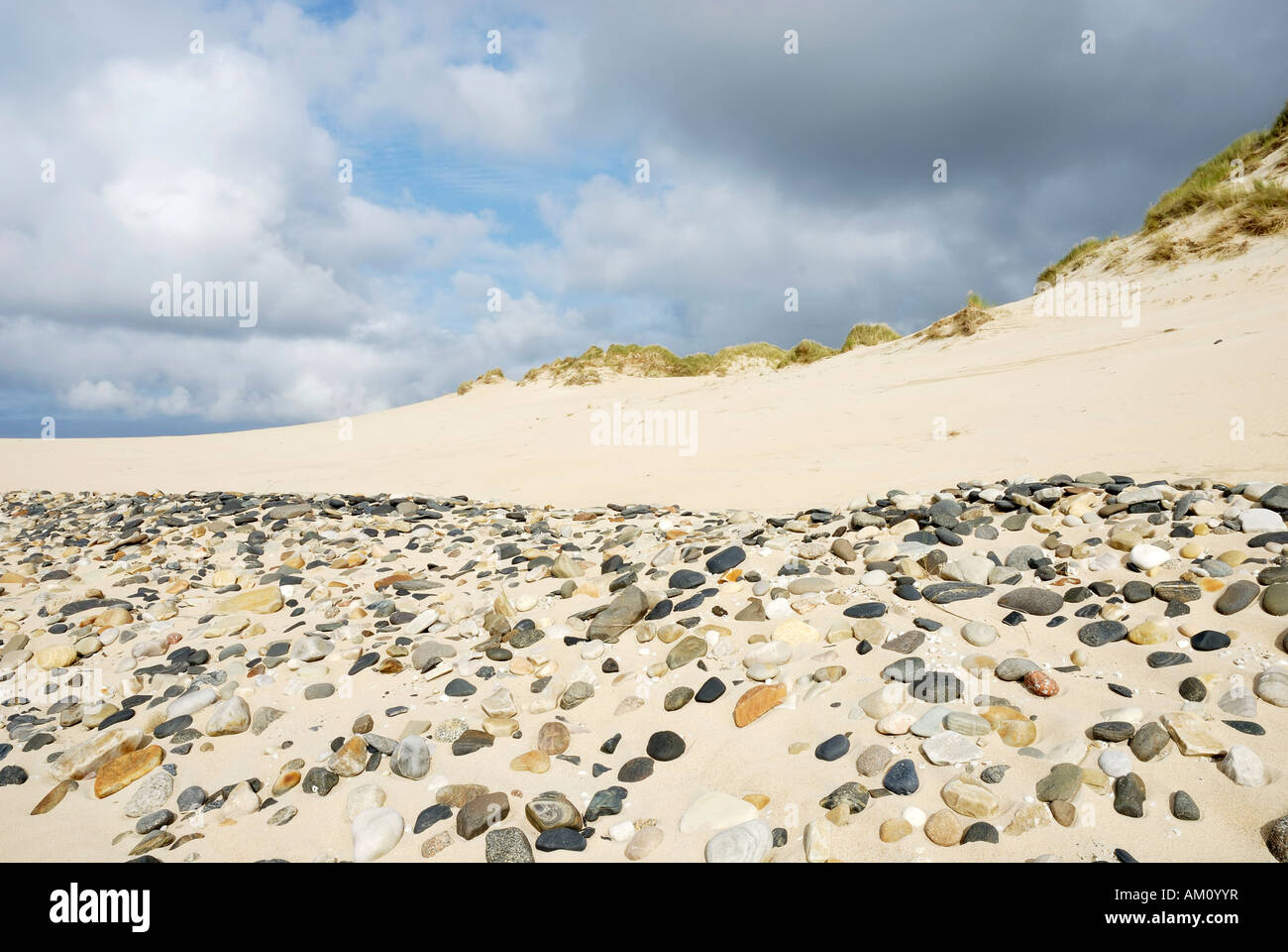 Polished pebbles of different geological origin representing recent coastline liberated by steady blowing wind in - Stock Image