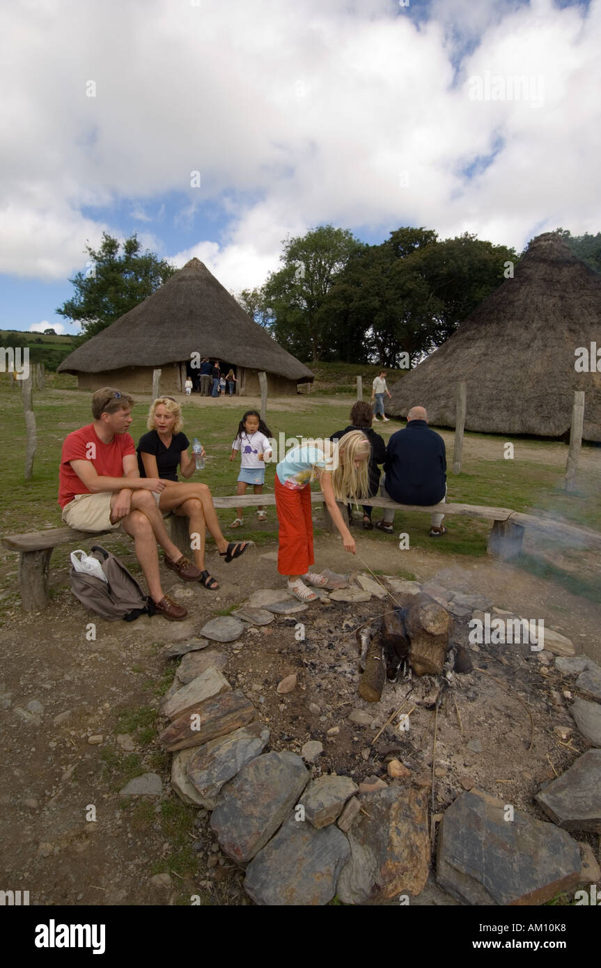 Castell Henllys reconstructed Iron Age hill fort Pembrokeshire wales - Stock Image