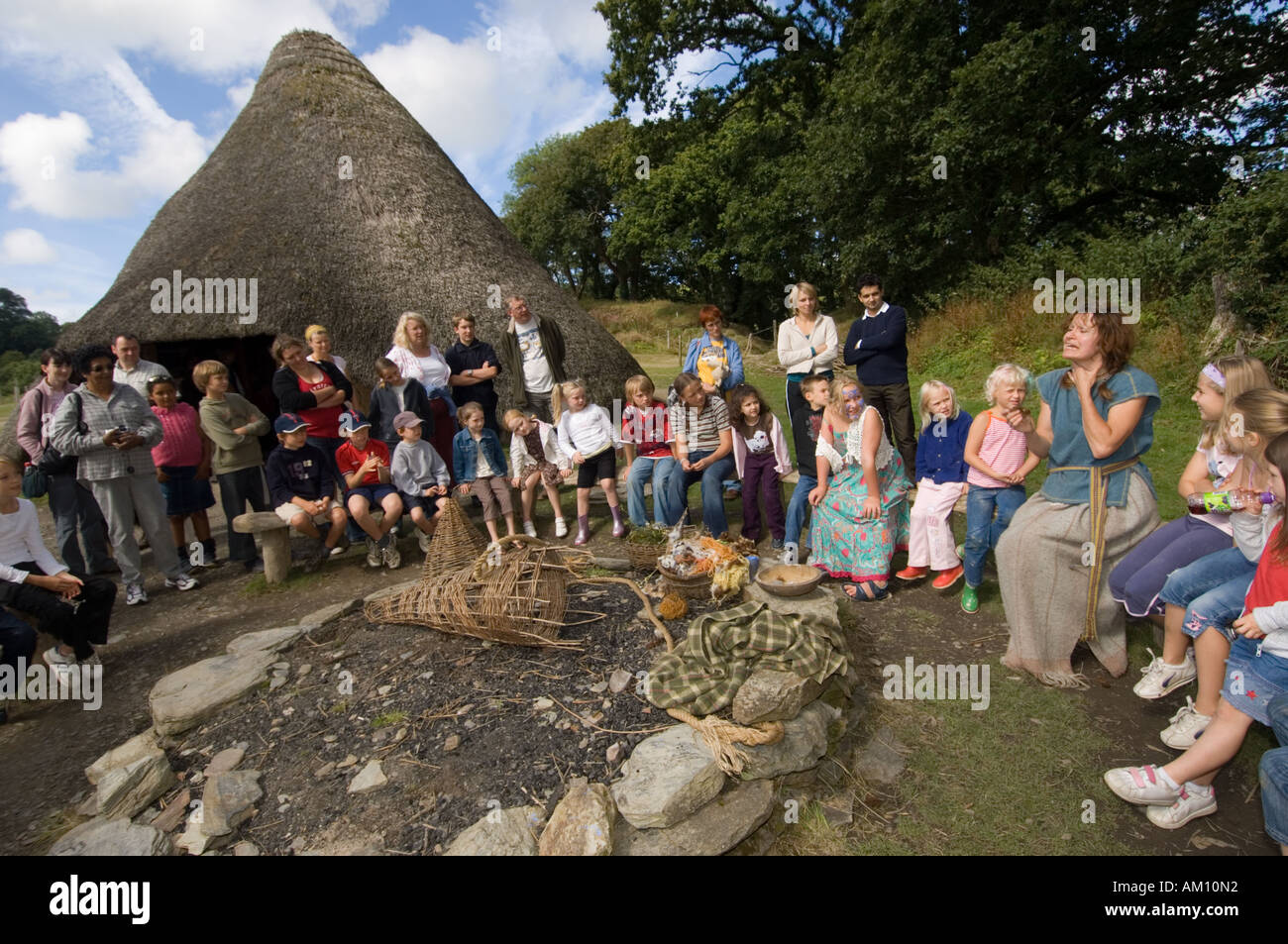 Castell Henllys reconstructed Iron Age hill fort Pembrokeshire wales UK - Stock Image