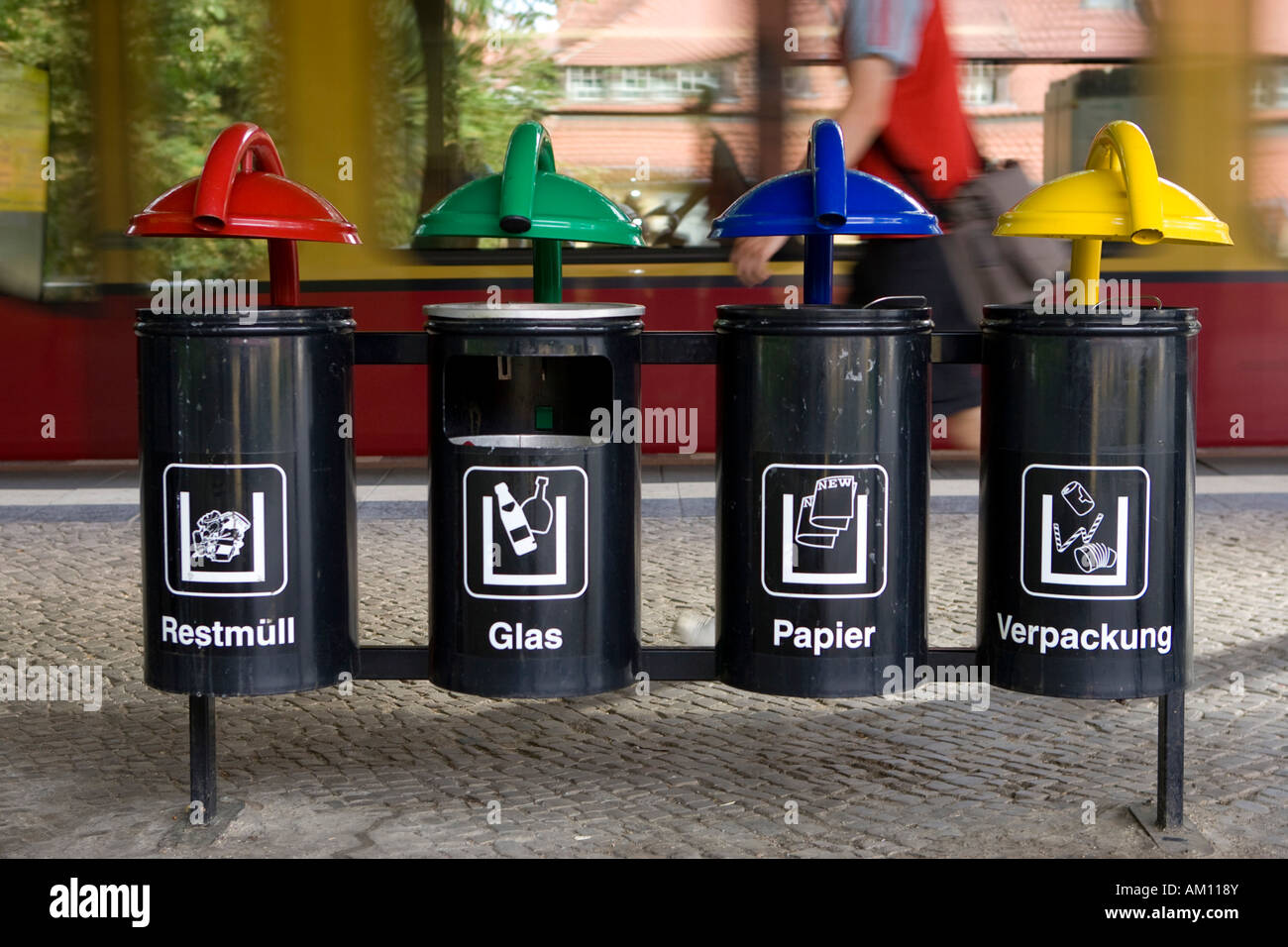 Garbage Cans Waste Separation Berlin Germany Stock
