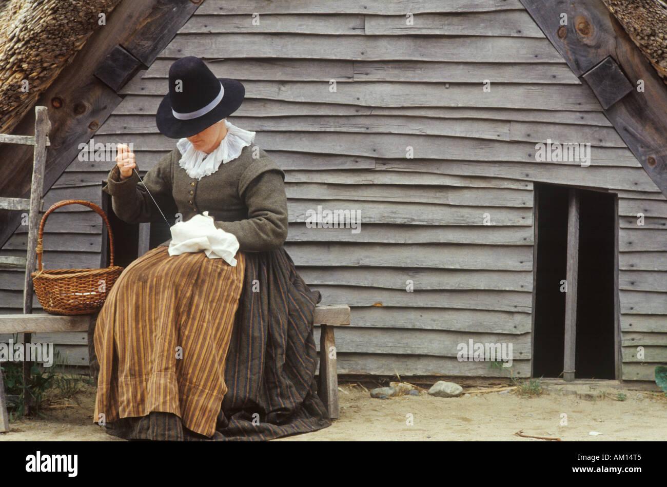 Living history reenactment of Pilgrims on Plymouth Plantation Plymouth Massachusetts - Stock Image