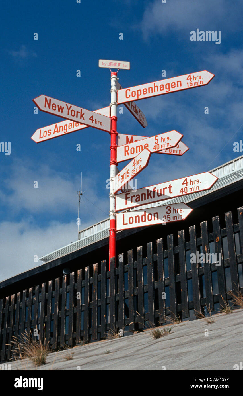 Signposts of the Scandinavian airline SAS at the airport, Soendre Stroemfjord, Greenland - Stock Image