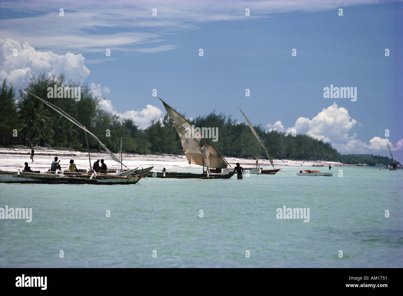 Diani beach with sailing boats Kenya - Stock Image