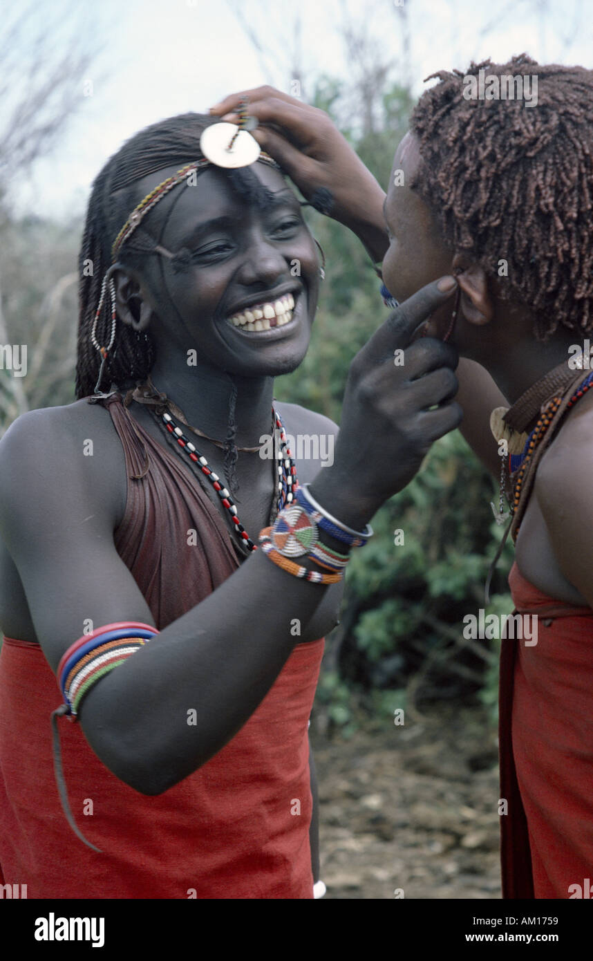 Two young Maasai warriors - Stock Image