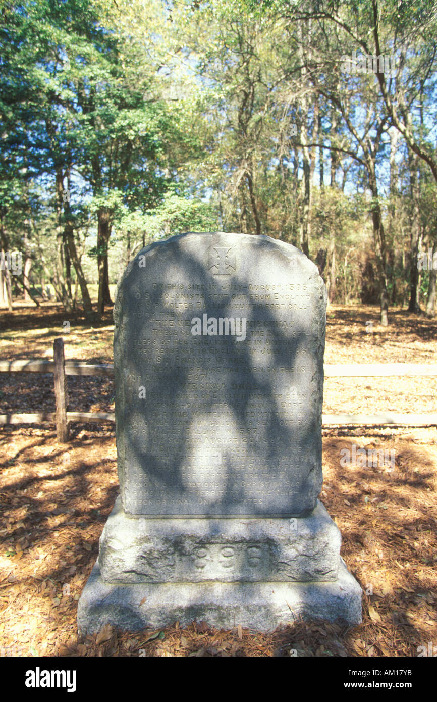 Gravestone commemorating The Lost Colony at Roanoke NC Stock Photo