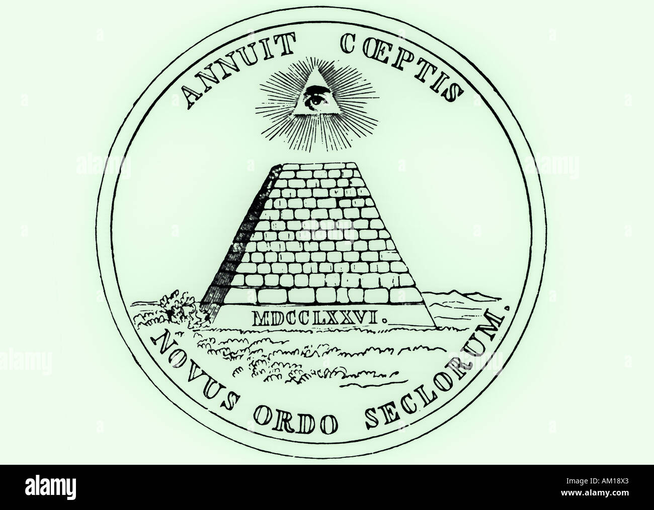 Obverse reverse side of National Seal of the United States a pyramid with all seeing eye of providence Novus Ordo Seclorum - Stock Image