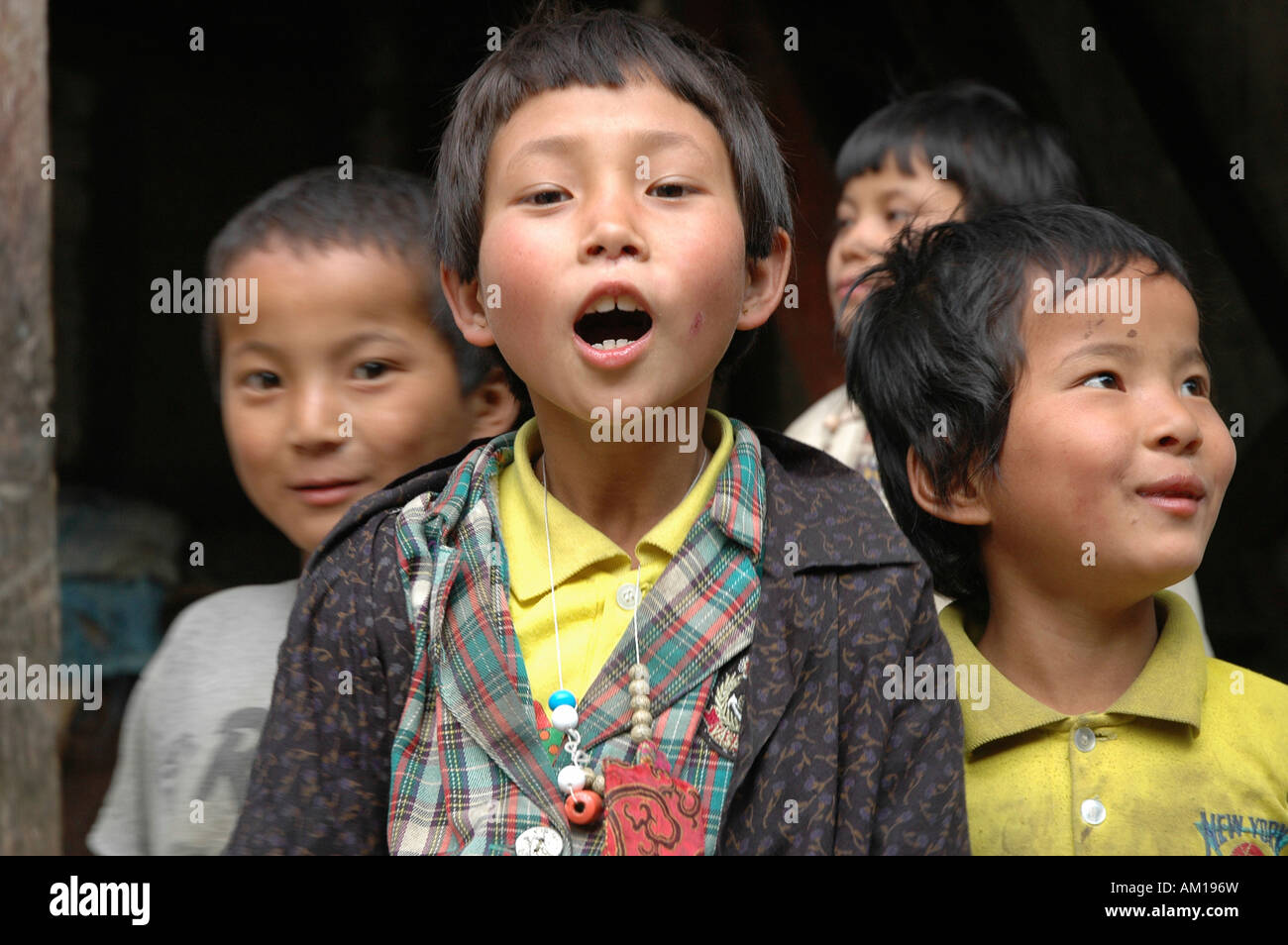 Children, Punakha, Bhutan - Stock Image