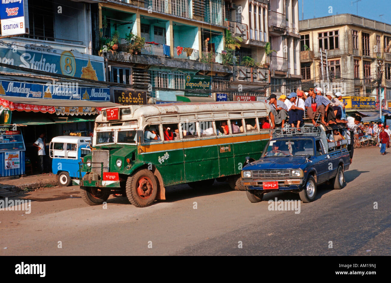 Public transport with old busses in Bago, Burma - Stock Image