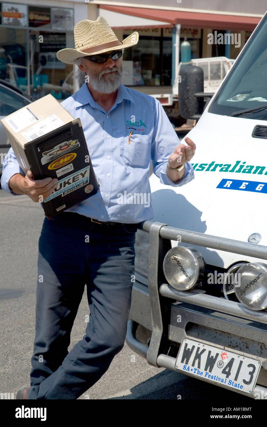 Courier driver Larry, Australian Express, Naracoorte, South Australia, Australia Stock Photo