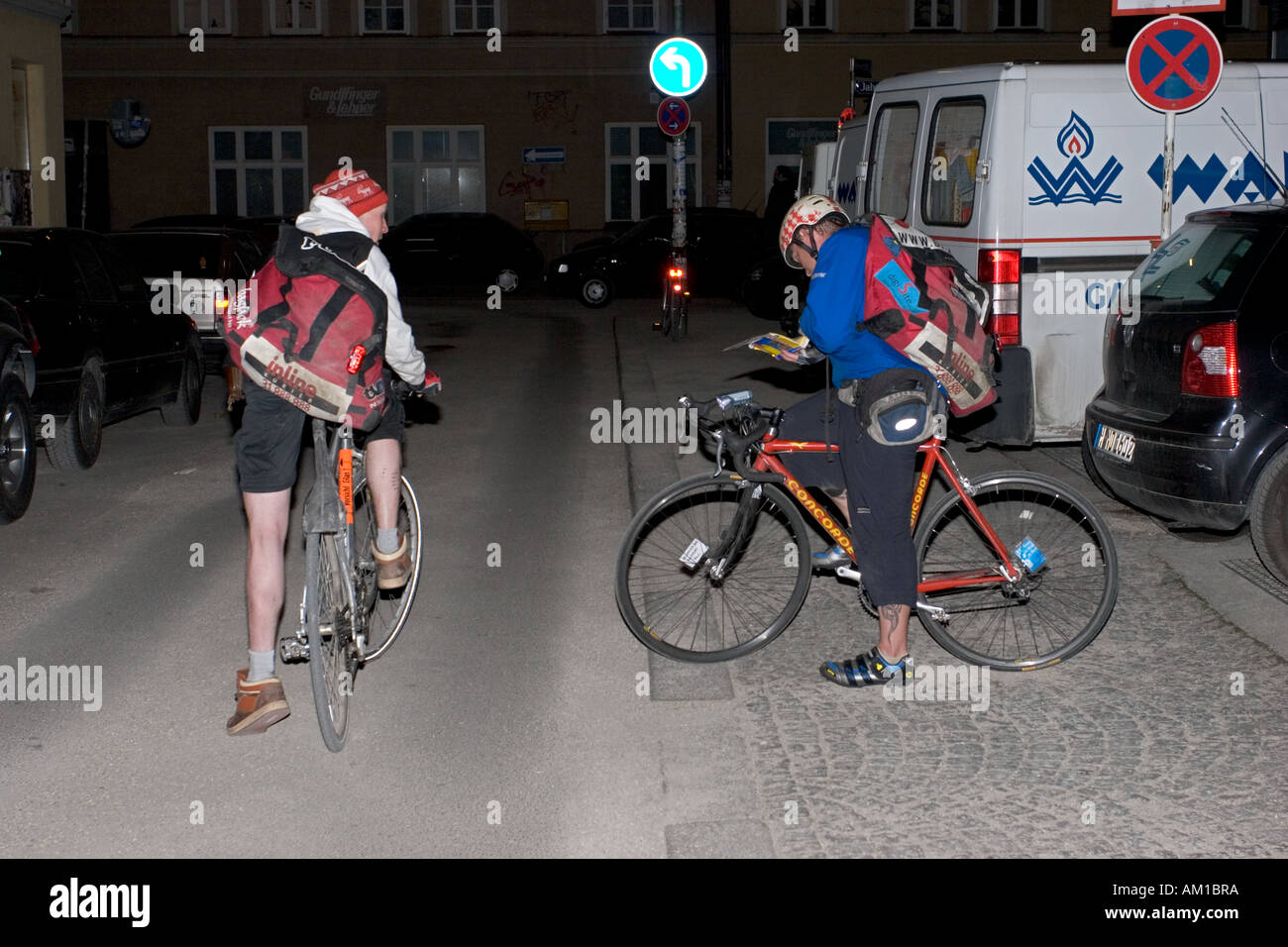night race of bicycle messengers in Germany Bavaria Munich drivers - Stock Image
