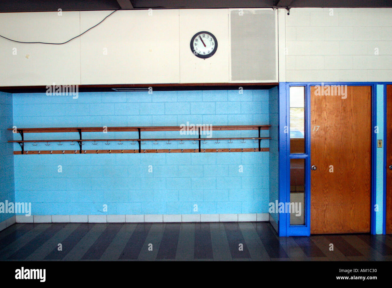 Empty Elementary School Classroom - Stock Image