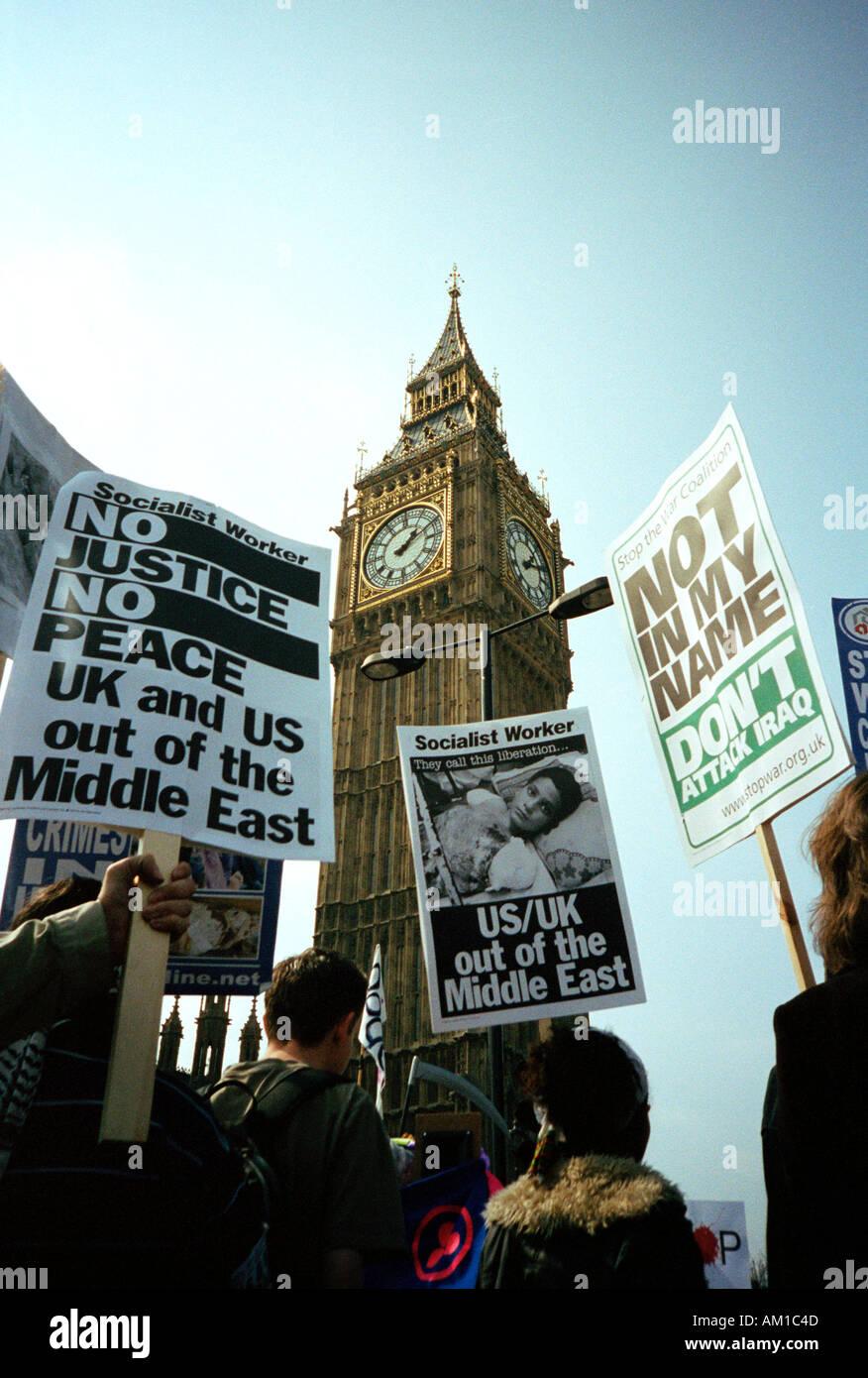 Anti war demonstration outside Big Ben London - Stock Image