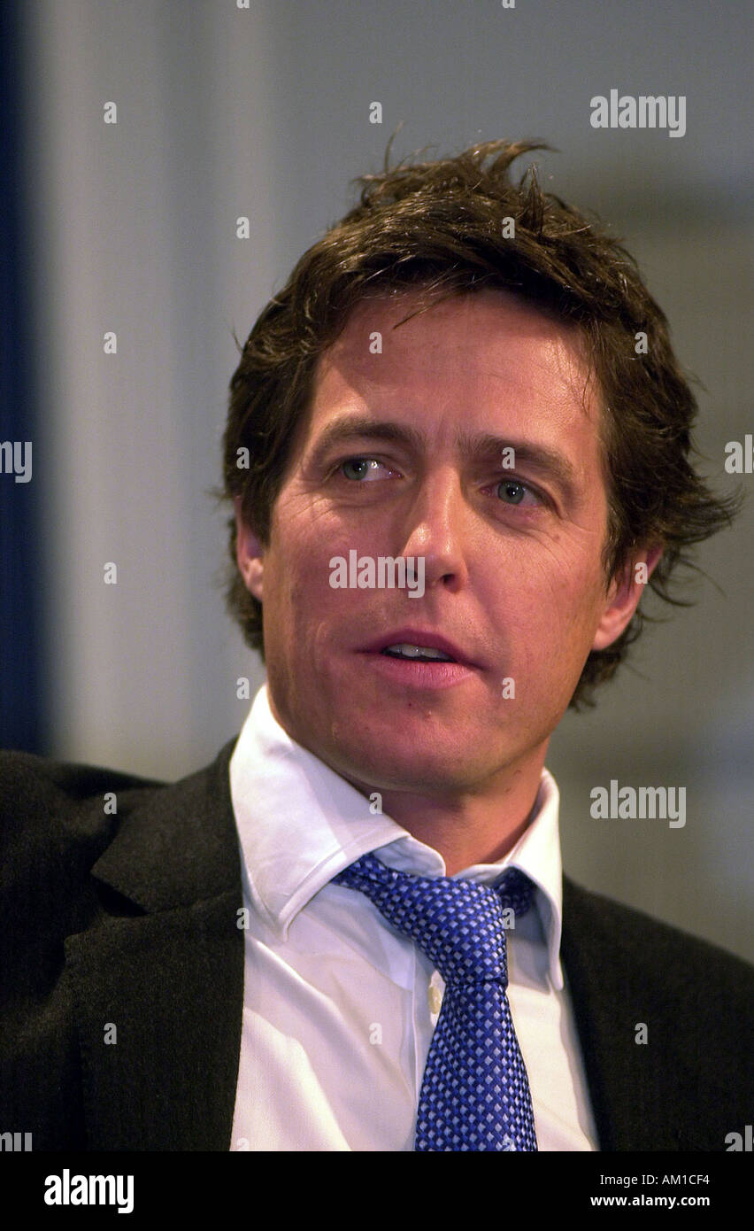 Star of the new film Two Weeks Notice Hugh Grant at NY City Hall after receiving a proclamation from Mayor Mike Bloomberg Richard B Levine - Stock Image