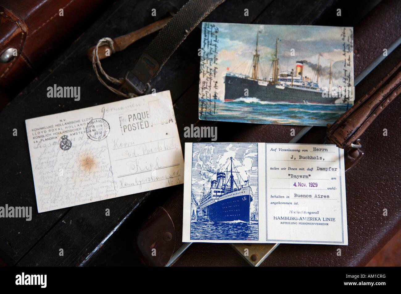 Ballinstadt, emigration museum, old postcards of emigrants, Veddel, Hamburg, Germany - Stock Image