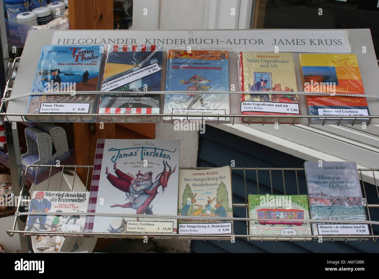 Souvenir shops selling children's books by author James Kruess, Heligoland, Schleswig-Holstein, Germany, Europe Stock Photo