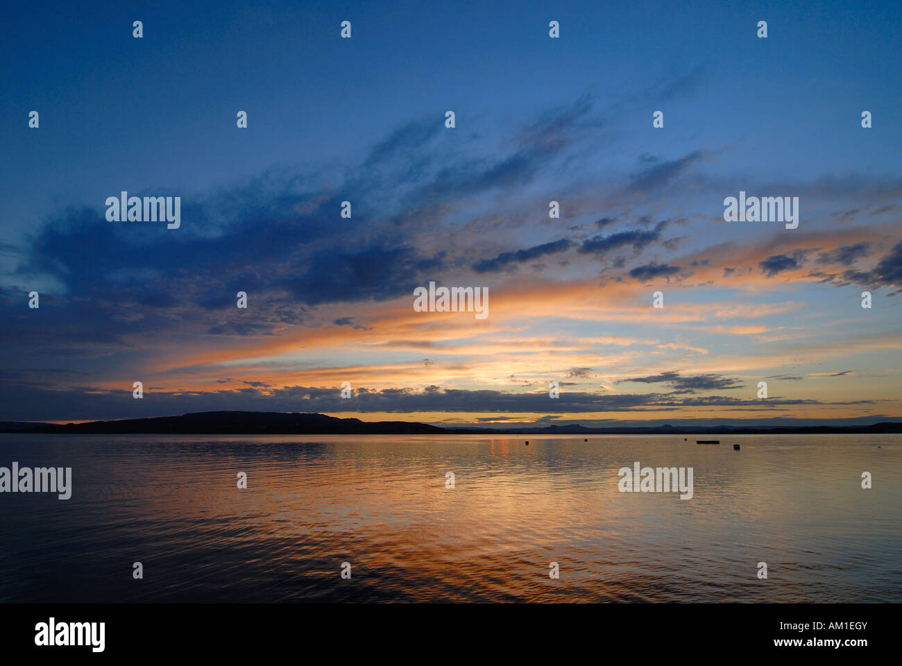 Isle of Reichenau - lighting effect over the lake Constance - Germany, Europe. - Stock Image