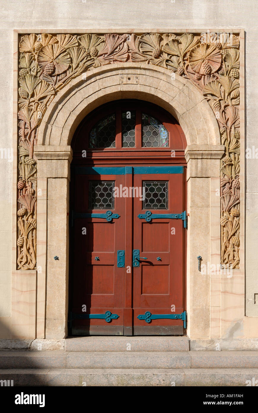 Tuttlingen - door with ornamentals from the church saint peter and paul - Baden Wuerttemberg, Germany, Europe. - Stock Image