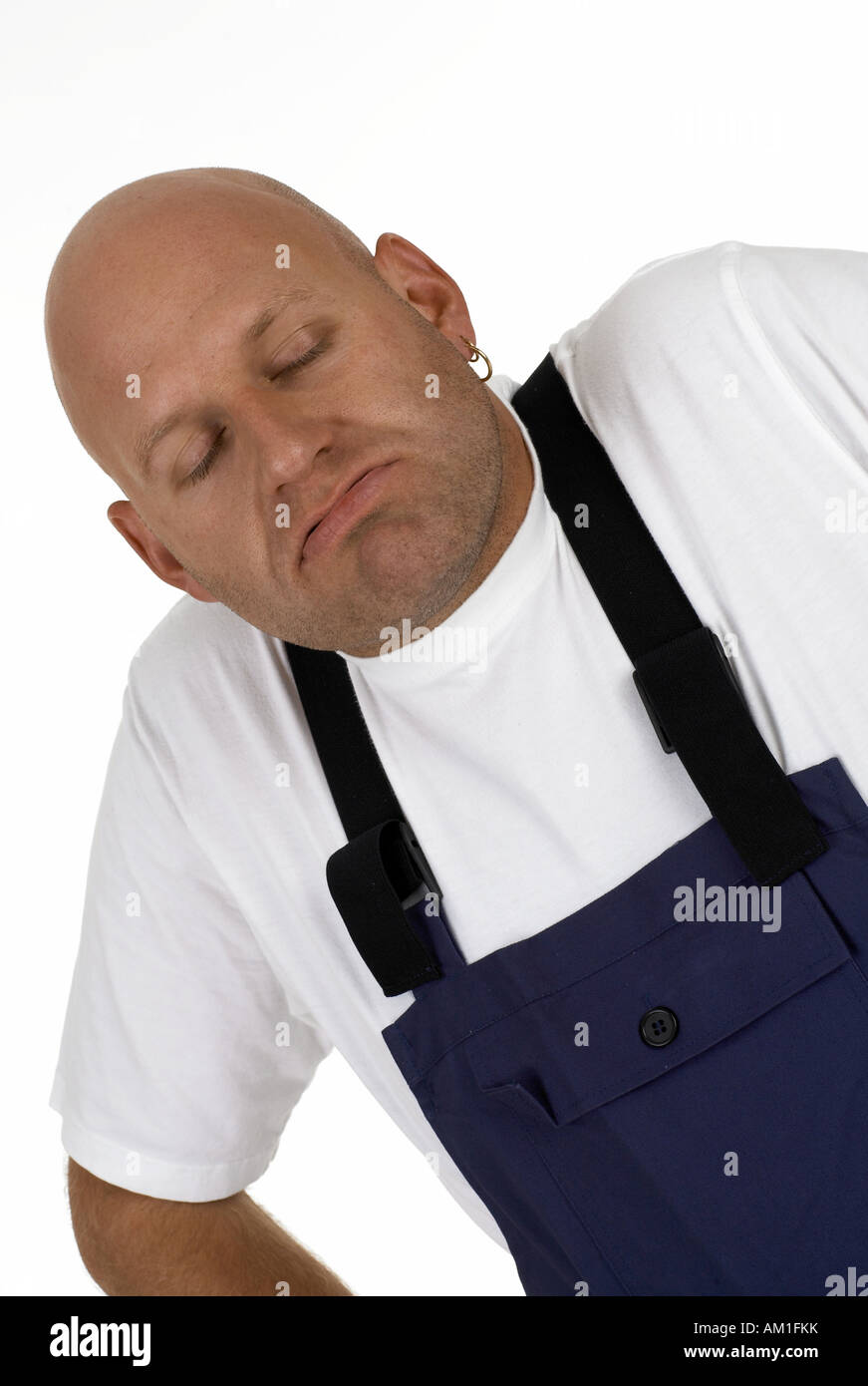 Workman pretends to know nothing Stock Photo