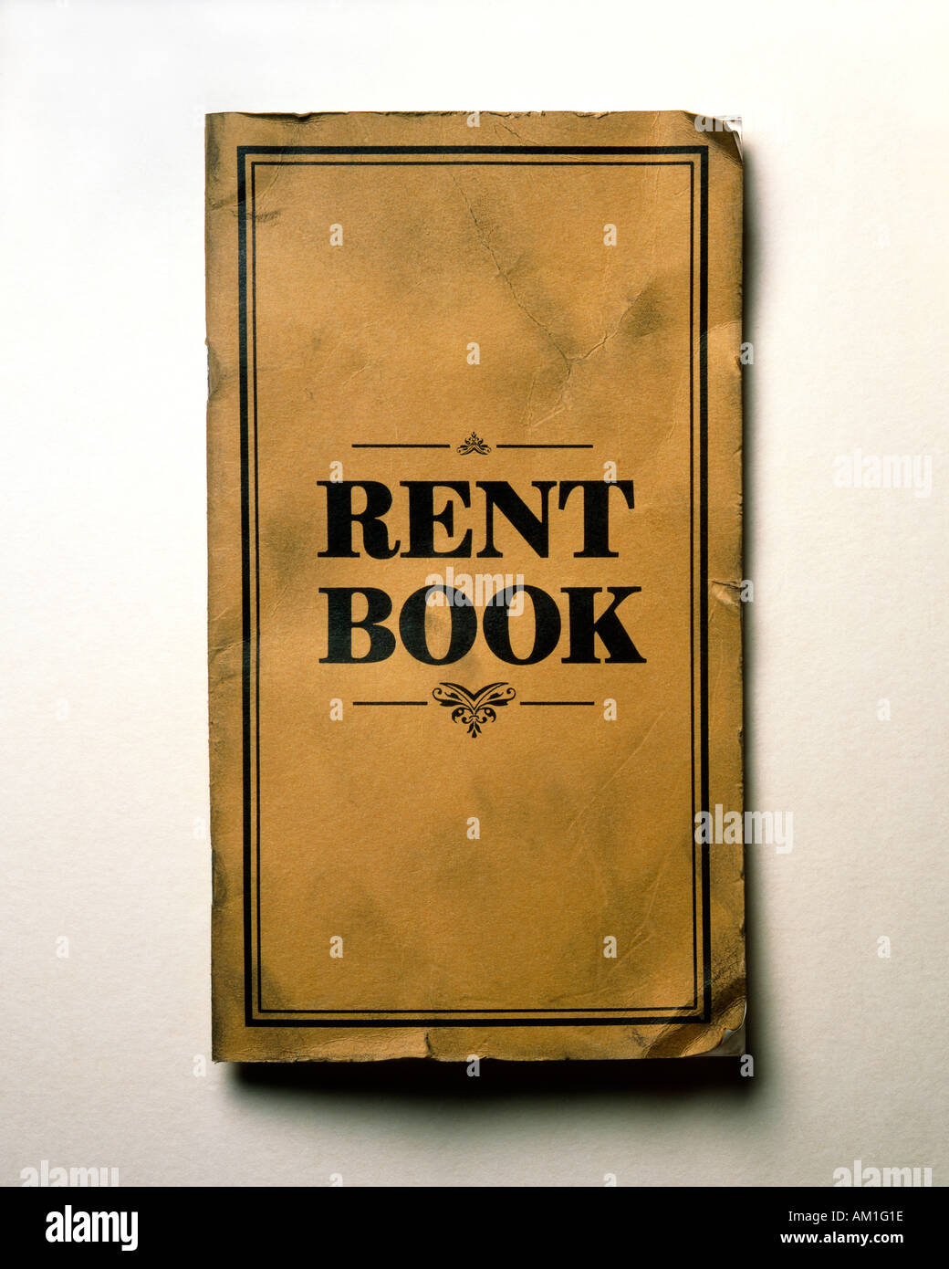 Old fashioned rent book - Stock Image