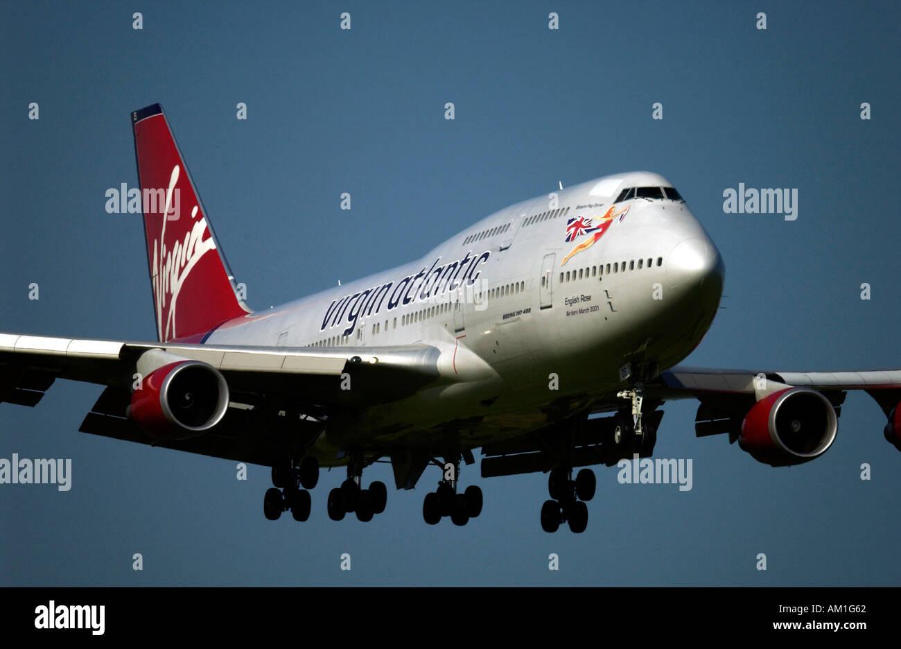 English Rose one of the Virgin Atlantic Airways Boeing 747 400 Jumbo Jet fleet landing at Gatwick - Stock Image