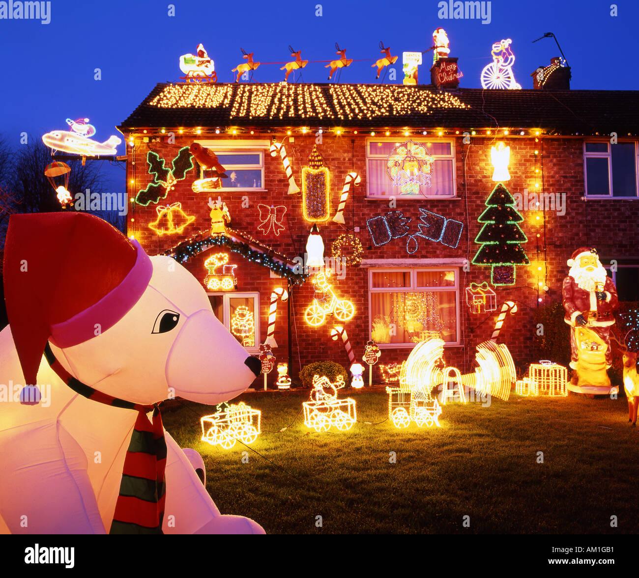 Christmas Lights On Private House Weaverham Cheshire England UK
