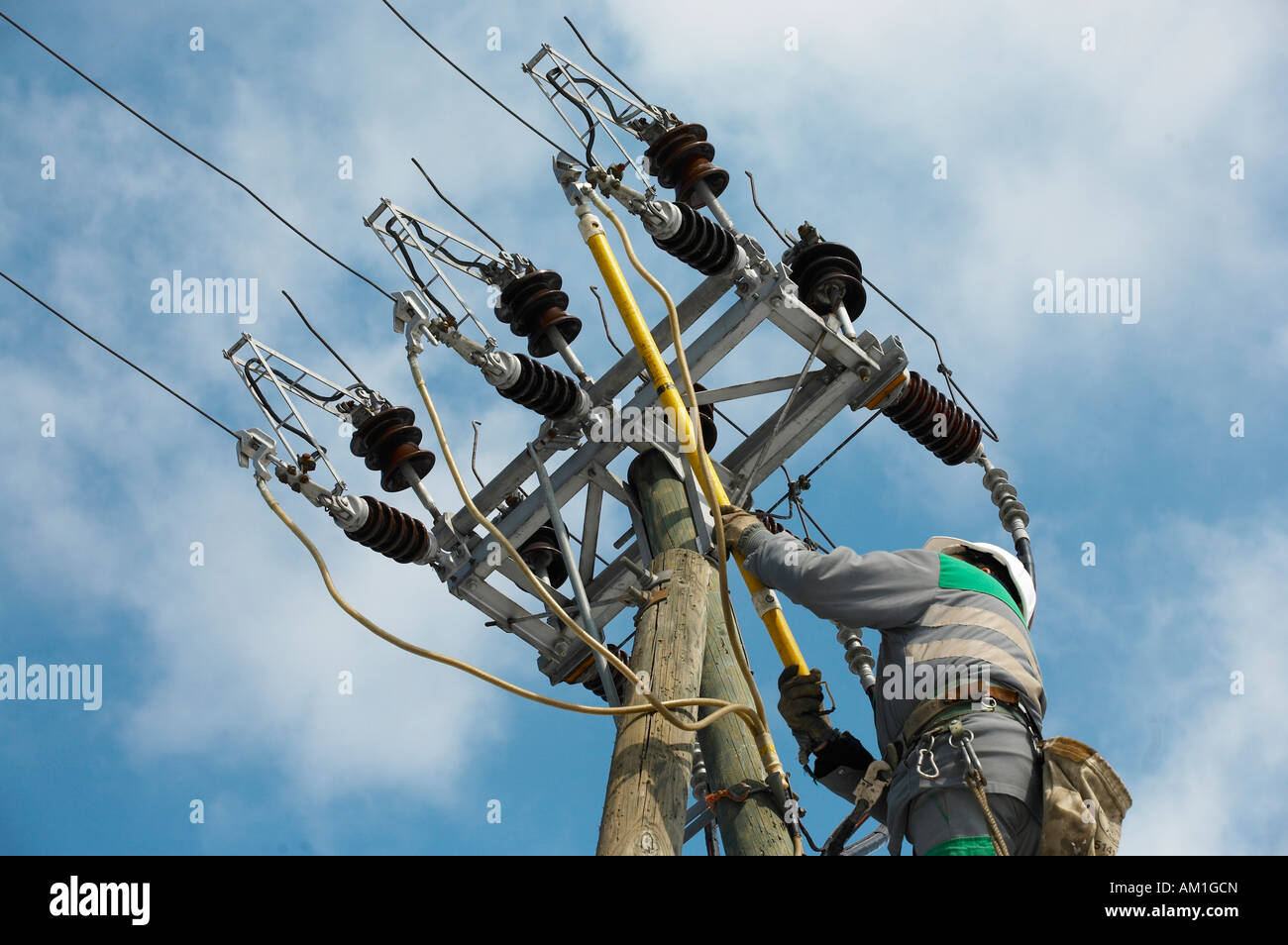A worker grounds an overhead powerline Stock Photo: 15117908 - Alamy
