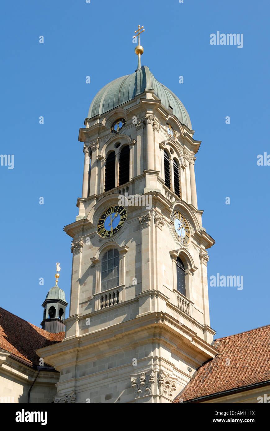 Einsiedeln - the clocktower from the cathedral - Switzerland, Europe. - Stock Image