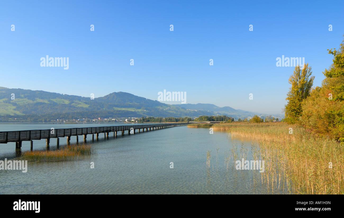 Rapperswil - wooden bridge over the lake zurich - canton of St. Gallen, Switzerland, Europe. Stock Photo