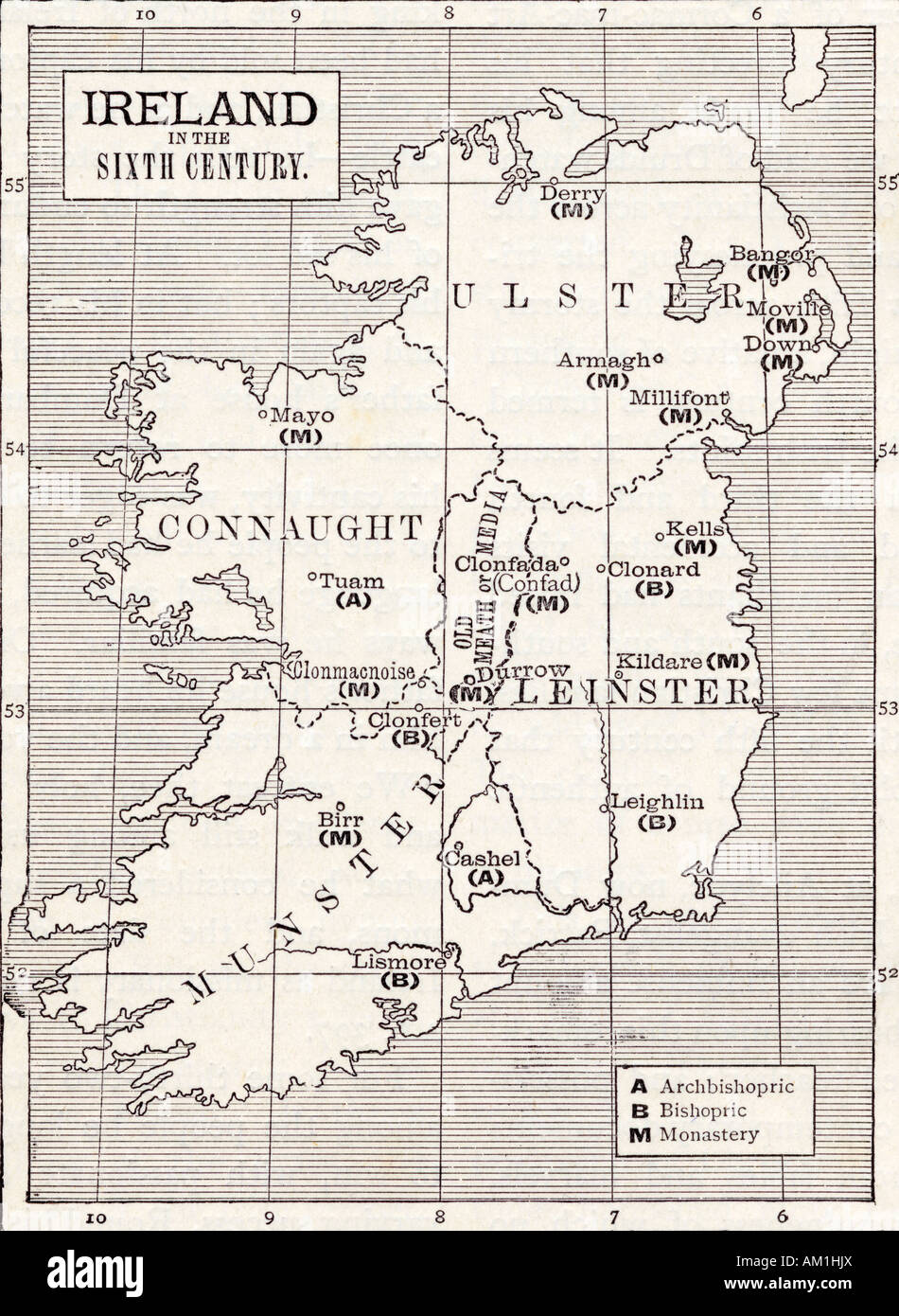 Map Of Ireland Book.Map Of Ireland In The Sixth Century From The Book The Church Of
