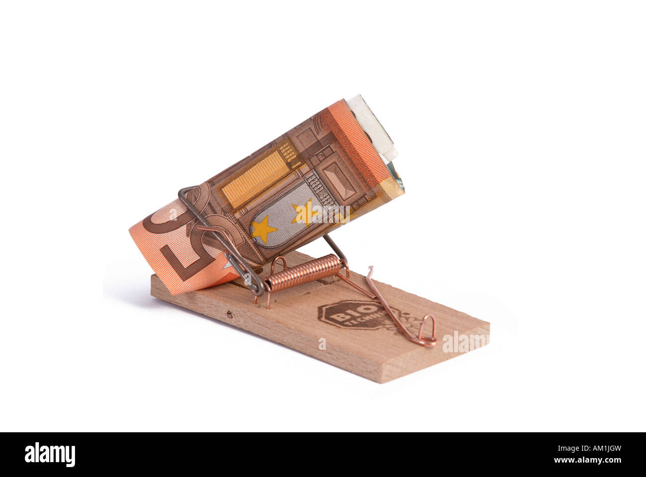 Mousetrap with money Stock Photo