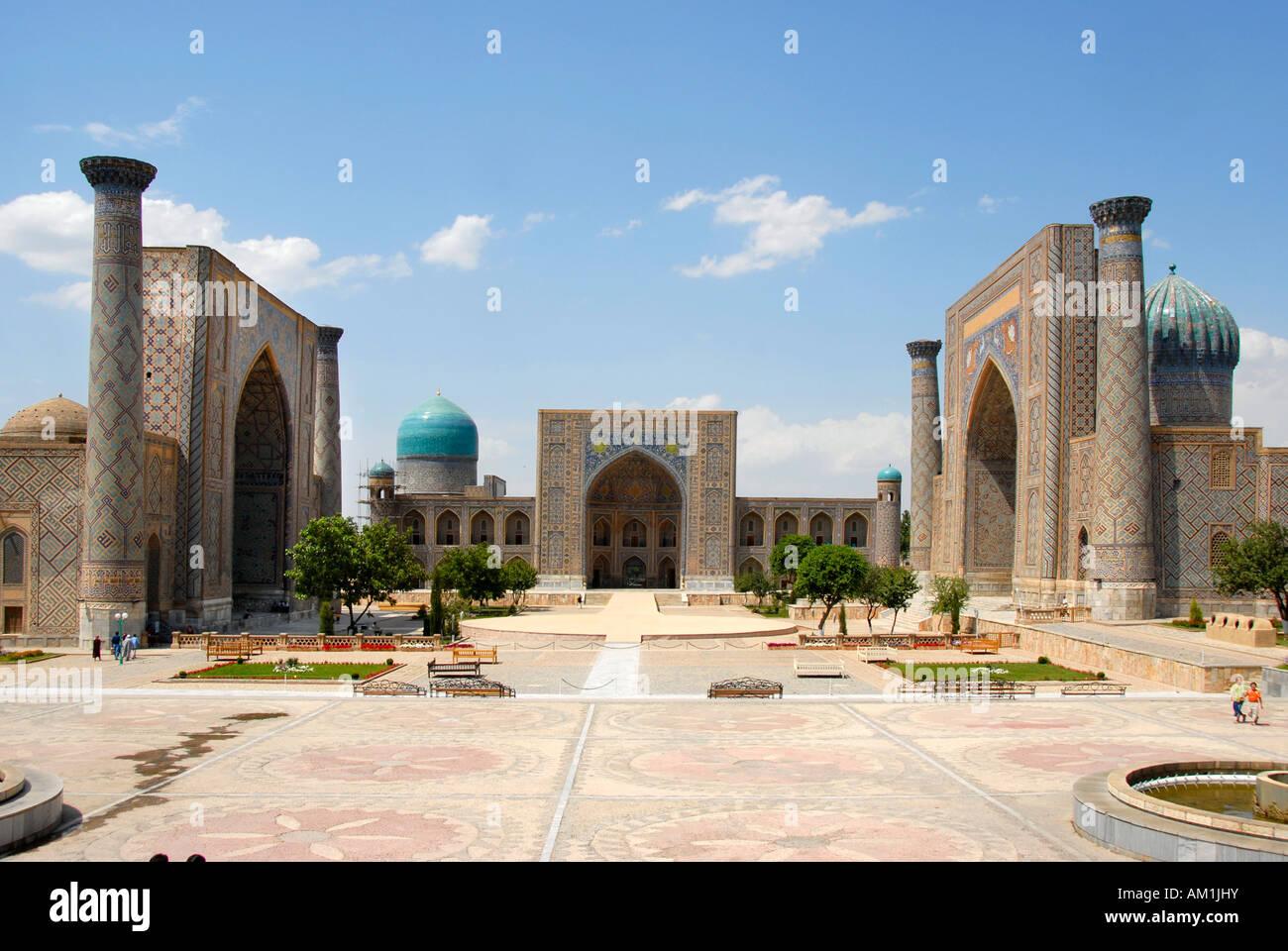 Madrasah Ulugh Beg, Tilla-Kari and Sherdar Registan Samarkand Uzbekistan Stock Photo