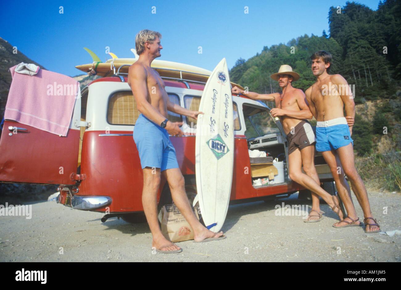 Surfers by VW van Northern CA - Stock Image