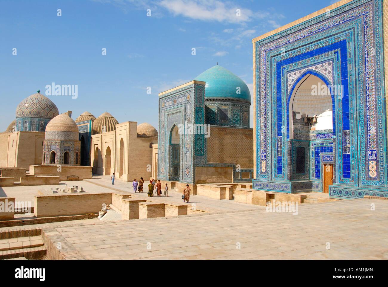 Mausoleums with blue decorated iwans and cupolas Necropolis Shah-i-Zinda Samarkand Uzbekistan Stock Photo