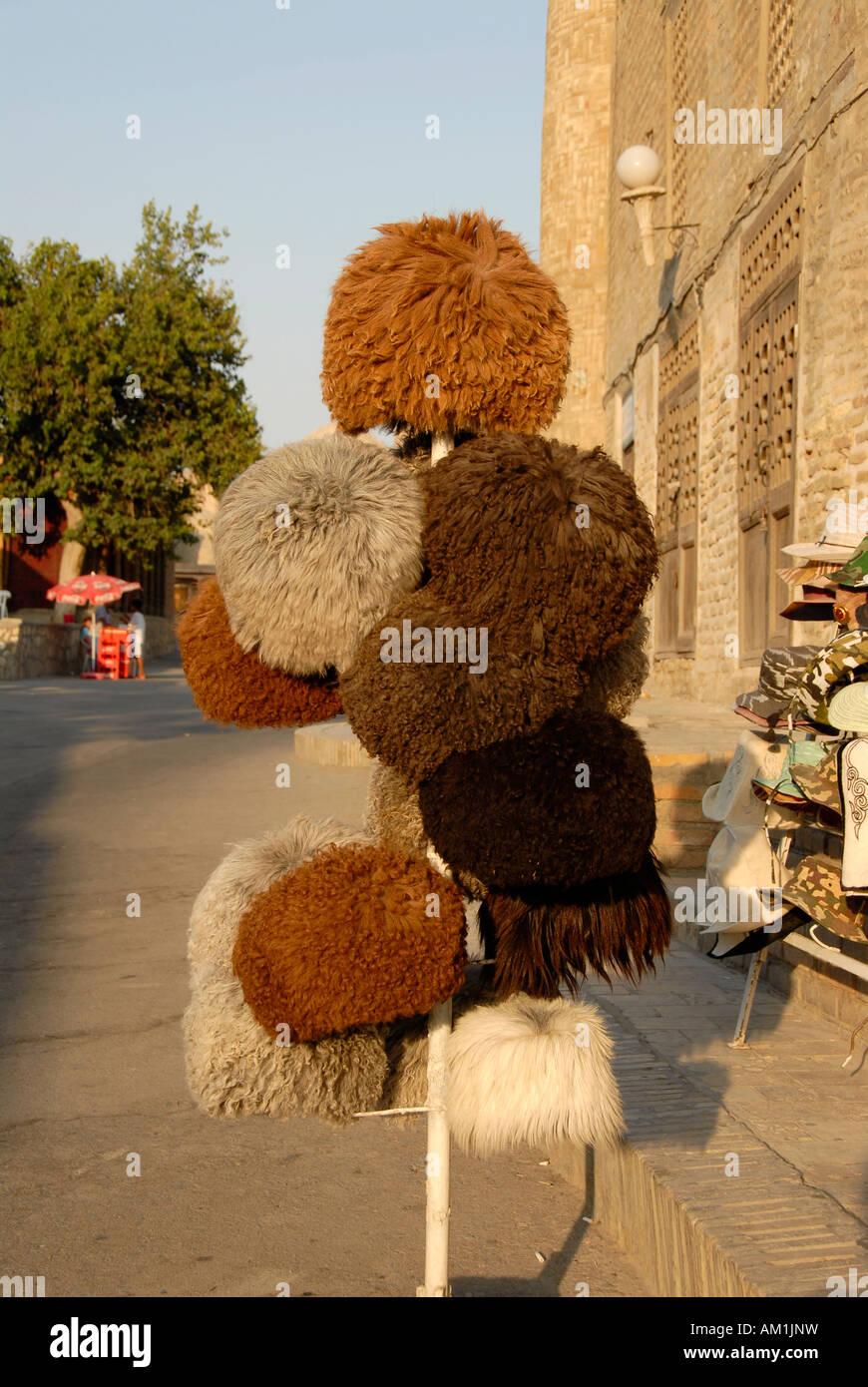Big hats made of sheep wool from Karakalpakstan displayed for sale in Bukhara Uzbekistan - Stock Image