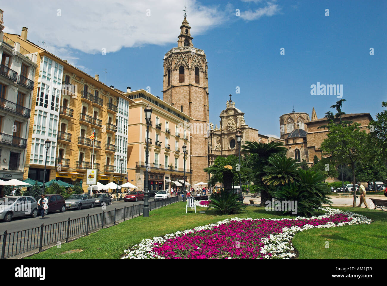 Plaza De La Reina And Cathedral Tower City Of Valencia Spain Stock