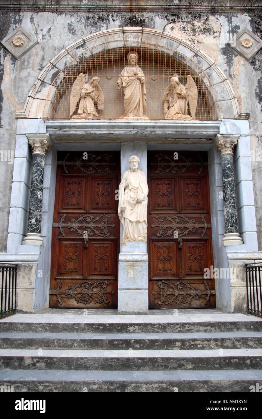 Entrance to catholic St Joseph's Cathedral Stone Town Zanzibar Tanzania Stock Photo