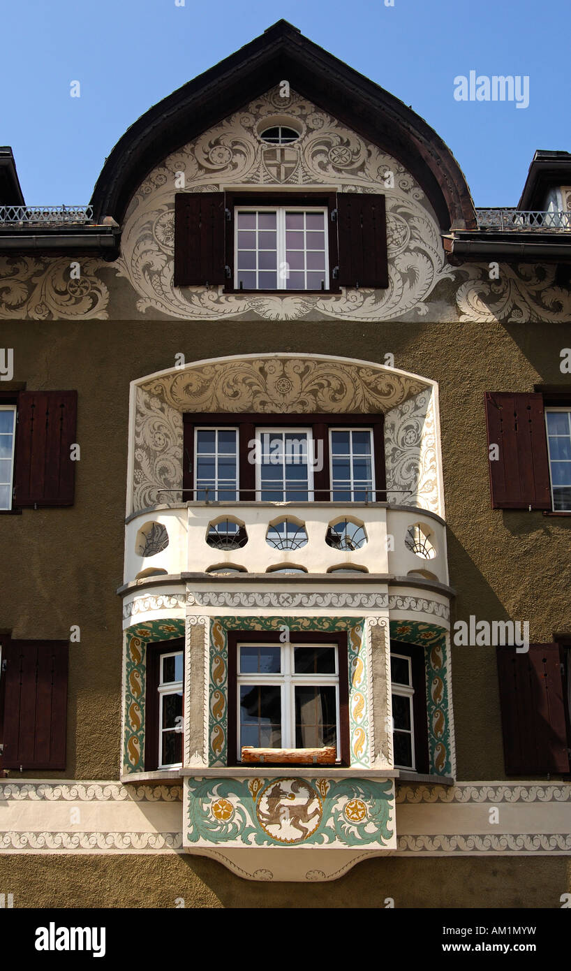 Engadine house with bay and decorated with Sgraffito ornaments, Samedan, Engadin, Grisons, Switzerland Stock Photo