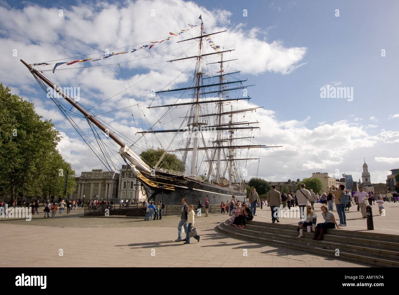 The Cutty Sark tea clipper in permanent dock at Greenwich South London UK - Stock Image
