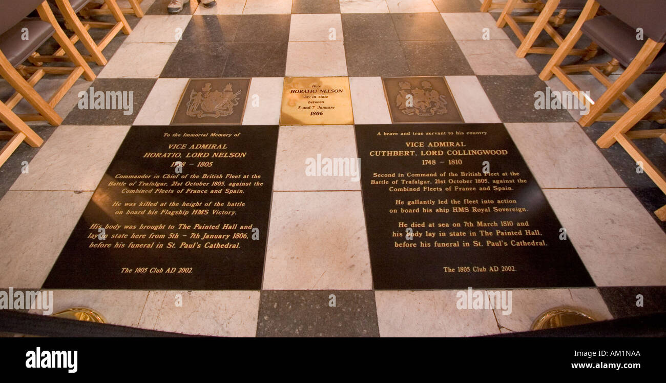 Plaques commemorating the lying in state of Admirals Lord Nelson and Lord Collingwood in the Painted Hall Greenwich Stock Photo