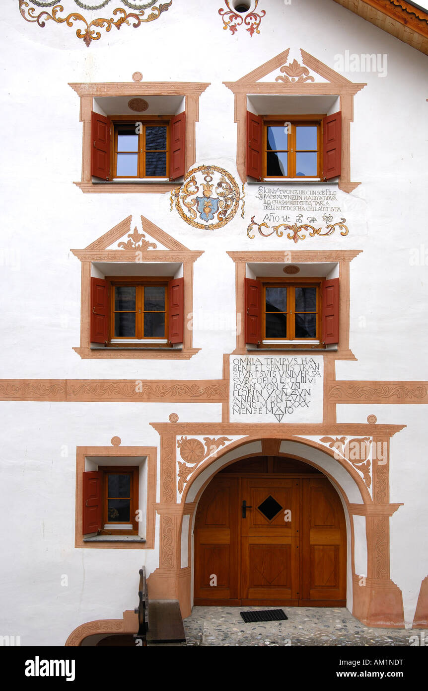 Entrance and windows of an Engadin house decorated with Sgraffito ornaments, Ardez, Lower Engadin, Grisons, Switzerland Stock Photo
