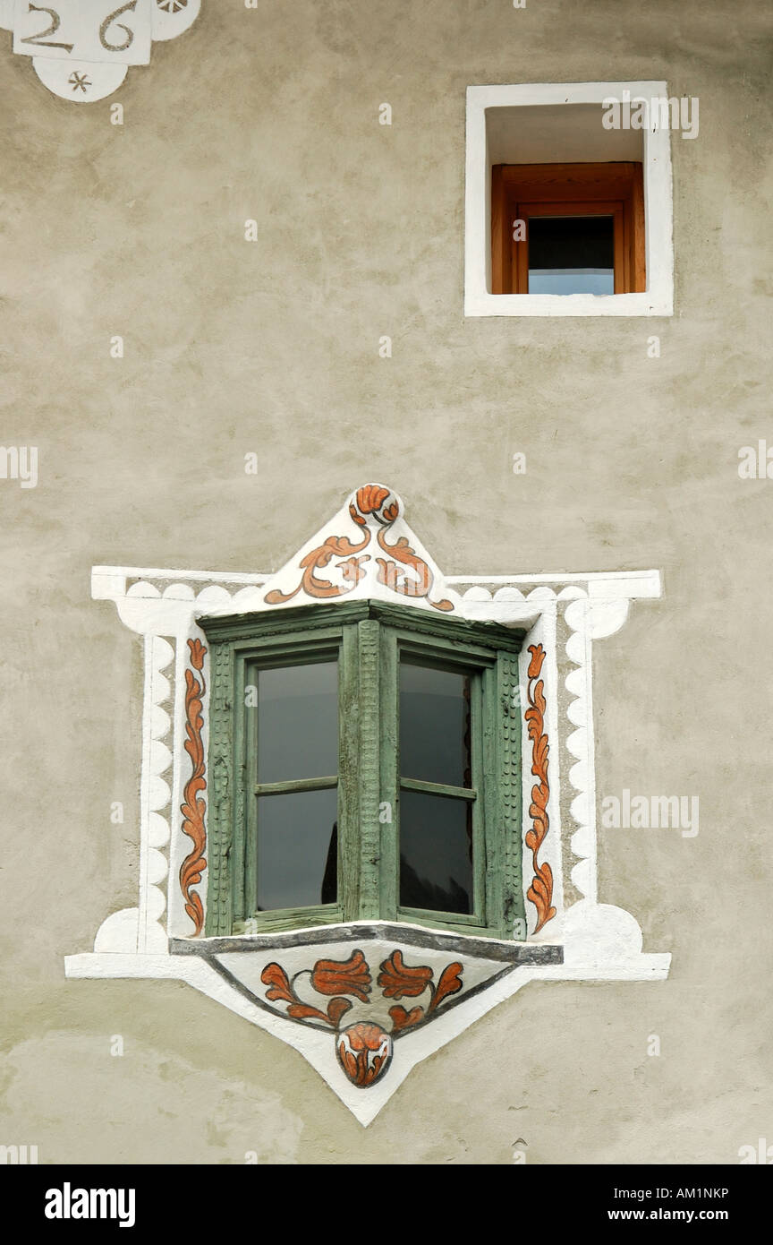 Bay window of traditional Engadine house, Scuol, Engadin, Grisons, Switzerland Stock Photo