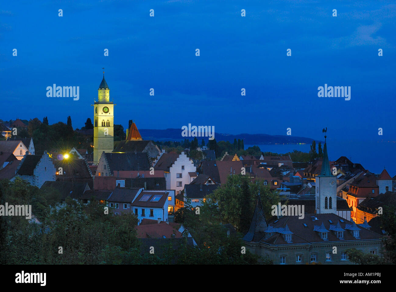 Ueberlingen - the old part of town in the dusk - Baden Wuerttemberg, Germany, Europe. - Stock Image