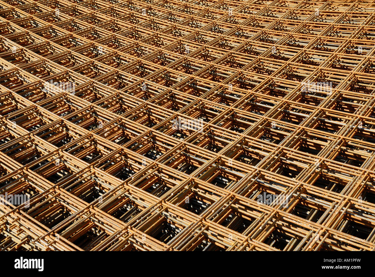Rusty mats of rebar. - Stock Image
