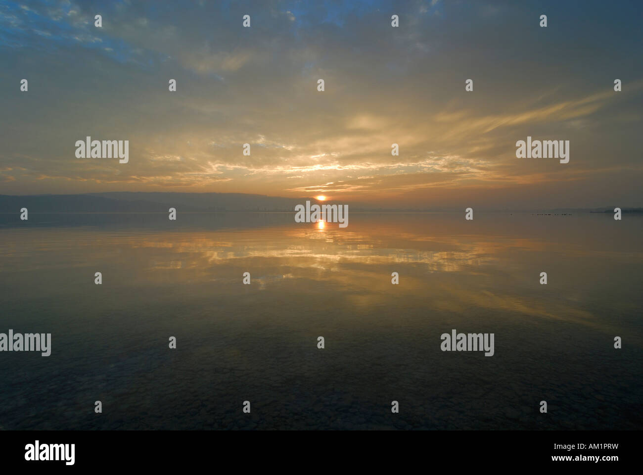 Sunset over the lake of constance - Baden Wuerttemberg Germany Europe. - Stock Image