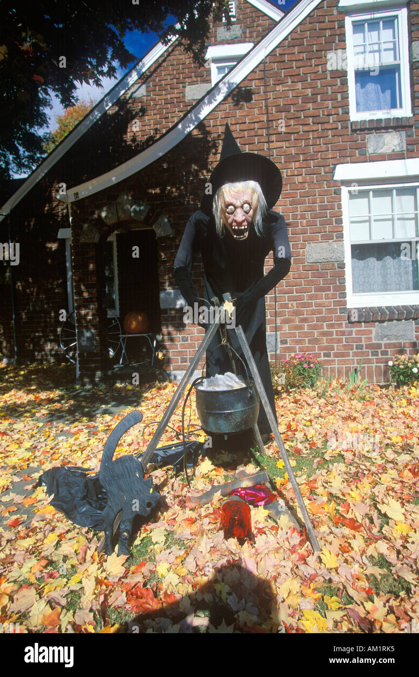 Scary Halloween Witch on Lawn New York State - Stock Image