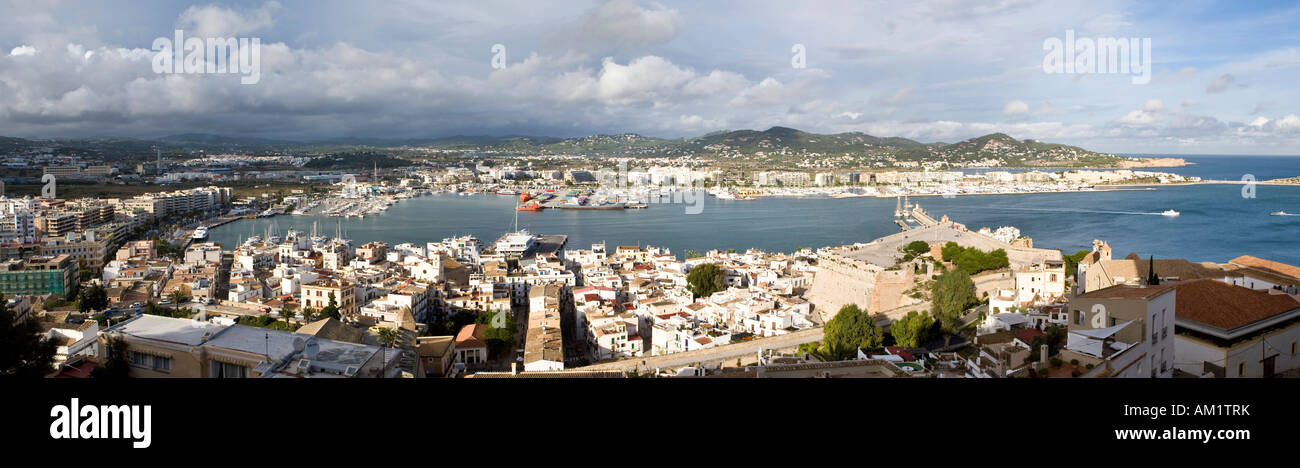 Panoramic view over the harbour and the town, Eivissa, Ibiza, Balearen, Spanien Stock Photo