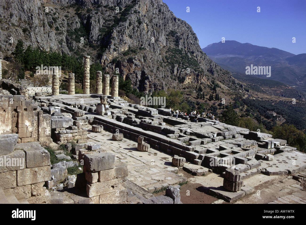 geography / travel, Greece, Delphi (Delphoi), shrine of the Apollo-Pythios, Alcmaeonidae temple, rebuilt until 330 - Stock Image