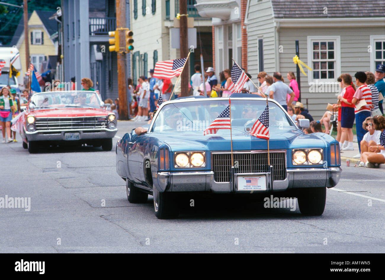 Antique Convertibles in July 4th Parade Centreville Maryland - Stock Image