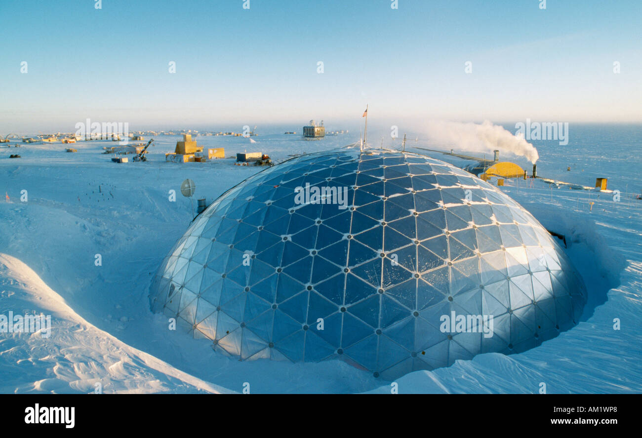 ANTARCTICA South Pole US Amundsen Scott South Pole Station The geodesic dome exterior which covers essential buildings Stock Photo